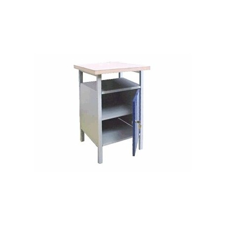 Metal table for the workshop with cabinet, with one shelf
