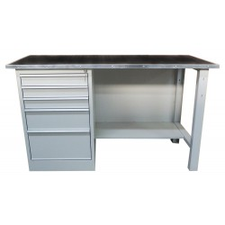 Metal table for the workshop with drawer