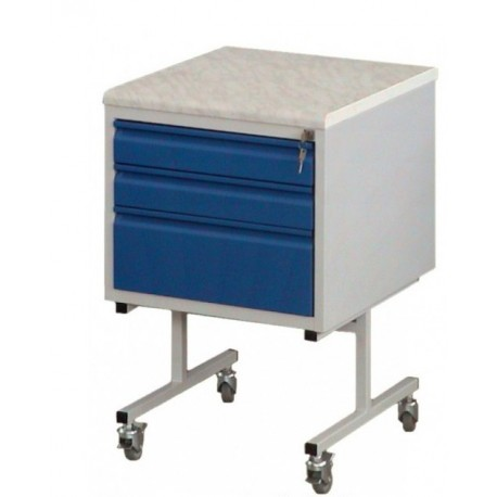 Transportable mobile metal cabinet with countertop, acid