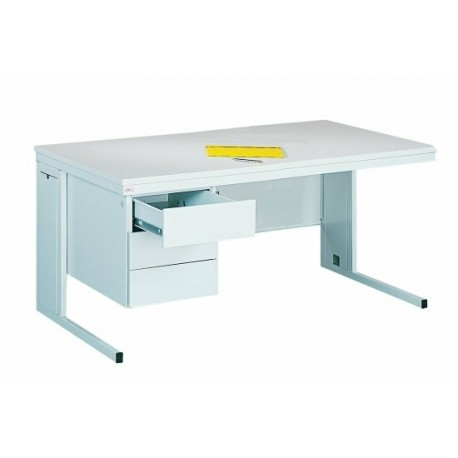 Written metal table with three drawers