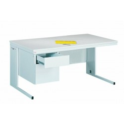 Written metal table with two drawers