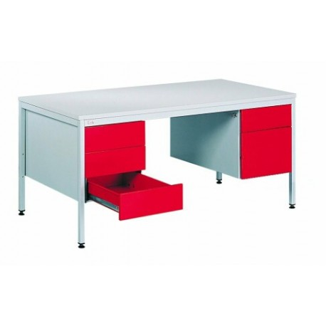 Table written with two metal containers with drawers.