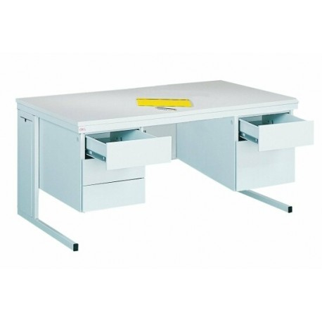 Metal desk with two containers with three drawers each.