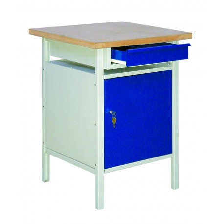 Metal table for the workshop with drawer and cabinet with one shelf