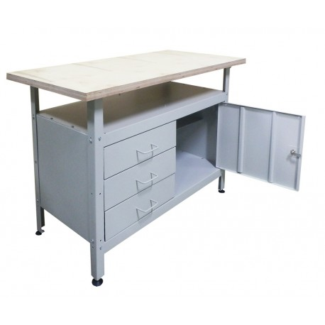 Metal table for the workshop with three drawers