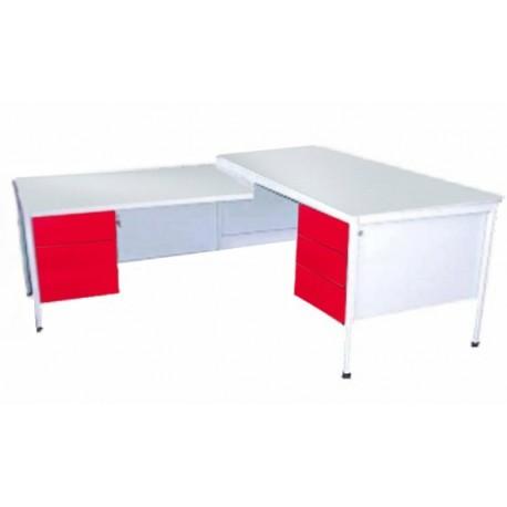 Письменный угловой металлический стол, оснащенный двумя контейнерами по три ящика