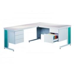Письмовий металевий кутовий стіл, оснащений двома контейнерами, один ящик призначений для файлів формату А4.