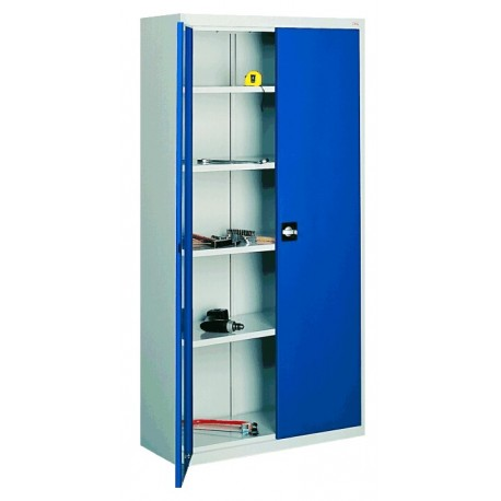 Metal cabinet for a workshop with four shelves