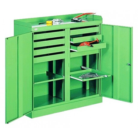 Metal cabinet for the workshop, has eight drawers