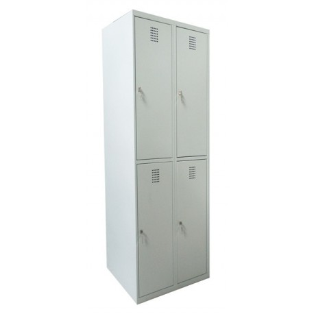 Double tier wardrobe locker with 4 compartments (monoblock/welded construction)
