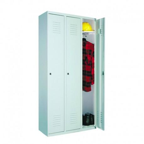 Wardrobe locker with 3 compartments (monoblock/welded construction)
