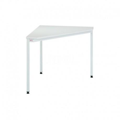 Трикутний металевий офісний стіл.