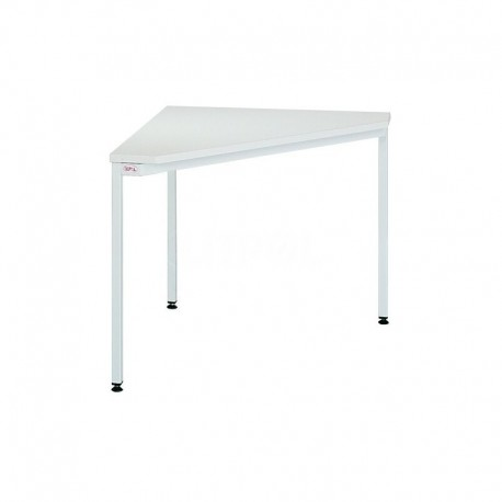 Triangular metal office desk.