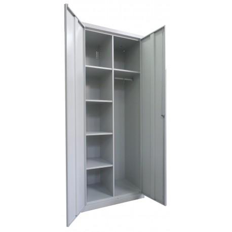Хозяйственный металлический шкаф с жердью для одежды
