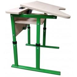 Стол ученический одноместный антисколиозный с полкой и площадкой, регулируемый по высоте