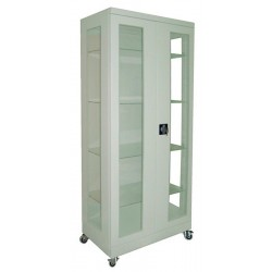 Medical two-door metal cabinet on wheels with four adjustable shelves