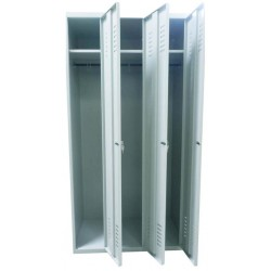 Wardrobe locker with 3 compartments (monoblock/welded construction)