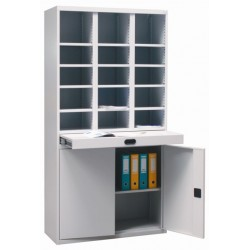 Metal cabinet for sorting and storing documents with a sliding table