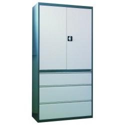 Металлический шкаф для документов с картотечной тумбой