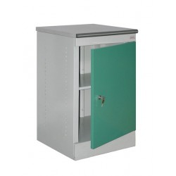 Metal bedside cabinet with a door closing on the lock.