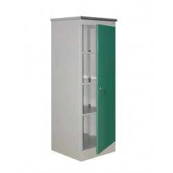 Bedside cabinet from metal with a door closing on the lock.