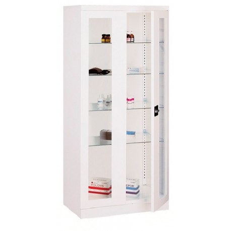Metal two-door cabinet with four medical adjustable shelves
