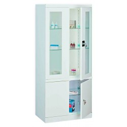 Medical metal cabinet with two doors additional compartment