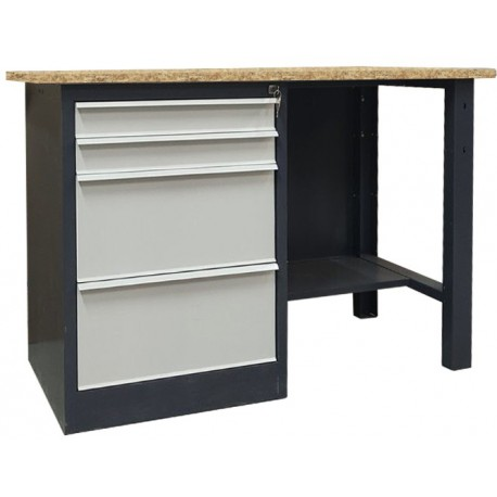 Metal table for the workshop with a shelf for tools