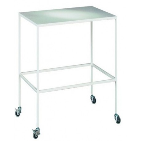 Mobile surgical table with metallic powder coating.